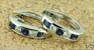 0.80 ct 14k Solid White Gold Natural Diamond & Blue Sapphire Earring Huggie Hoop