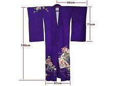 Gorgeous Vintage Purple Silk Botan & Ume Design Tsukesage Rinzu Kimono