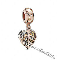 Authentic Pandora Charm 788247CZ Rose Gold Sparkling Leaves Dangle #GZ