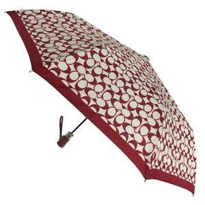 Coach Automatic Red C Print Umbrella  NWT