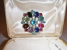 Vintage Kramer Of New York Multi Colored Rhinestone Brooch Jewelry Box D