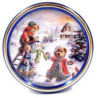 Original Gourmet Premium Cookies Collectible Christmas Tin Bears & Snowman
