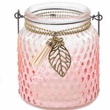 Hanging Glass Jar Tea Light Candle Holder with Wood Heart Outdoor Indoor