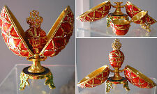 "Inspired Faberge Double Trinket Box Egg w/Russian Tzcar Crown  Easter 4"" NEW"