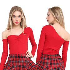 Ladies One Shoulder Crepe Long Sleeve Plain Leotard Bodysuit All In One Top