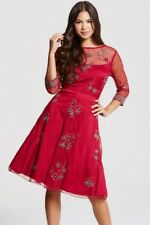 LITTLE MISTRESS STUNNING RED ALL-OVER EMBROIDERED SKATER DRESS SIZE-12