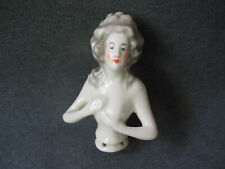 Vintage porcelain half doll for powder boxes pin cushions 4 1/2 inches tall