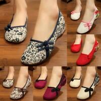 New Women Lady Chinese Embroidered Flower Flat Shoes Mary Cotton Floral Handmade