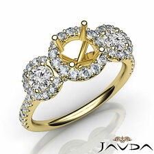 Diamond Engagement Round Semi Mount Setting Three Stone Ring 18k Yellow Gold 1Ct