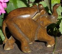 ELEPHANT  DE LA SAVANE  EN  BOIS  SCUPLTE   MAIN TROMPE EN HAUT PORTE BONHEUR