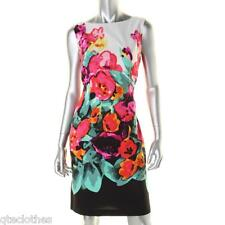 ADRIANNA PAPELL $120 NEW Multi Floral Print Sleeveless Sheat Lined Dress 8 QCO