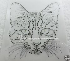 Hotfix Strass Bügelbild Cat Katze Crystal-Black Diamond Glas Karostonebox 120921
