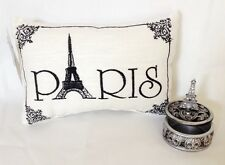 """Paris"" - Embroidered Accent Pillow & Eiffel Tower Curio Trinket Box - Gift Set"