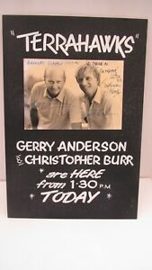 Gerry Anderson Christopher Burr SIGNED HARRODS APPEARANCE BOARD 1983