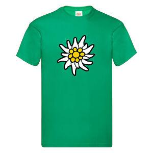 T-Shirt Edelweiss Alpen Bayern Berge Premium Druck Wandern Bergsteigen Urlaub