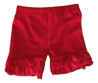 Ruffle Trimmed Shorts Cotton Jersey Solid Mid-Thigh MANY COLORS Girls 2T-16