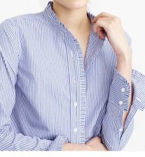 J. Crew Petite Ruffled Button-up Shirt In Stripe Blue/white Size 8P New