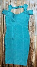Herve Leger  Bandage Dress Off Shoulder Knee Length Aqua Teal A996 *M