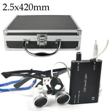 Dental Loupes 2.5x 420mm Surgical Medical LED Head Light Lamp Aluminum Case Box*