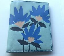 Fossil Flower Passport Case- blue shades, floral -RFID protected- card slots