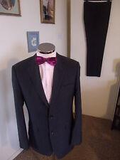 """Dehavilland Men's a righe color antracite Due Pezzi Suit C38"""" REG W32"""" L31.5"""" Misto Lana"""