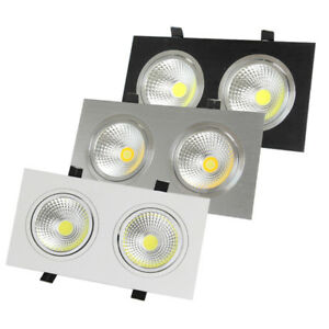 Dimmable/N LED COB Grille Lamp Recessed Ceiling Light Dual Head Vestibule Store