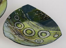 ☼ Formano Dekoteller 20 x 20 cm Glas Kreise grün Kerzenteller Metallic 808257