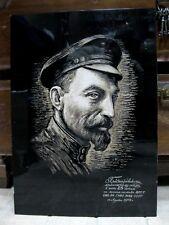 KGB FOUNDER FELIX DZERZHINSKY portrait wall panel xylography Soviet Russia USSR