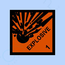 PACK OF 4, EXPLOSIVE WARNING Sign, Sticker - All Sizes & Materials - 100x100mm
