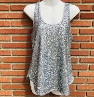 GAP Blouse Women's XS Silver Sleeveless Lining racerback top fully Sequins tank