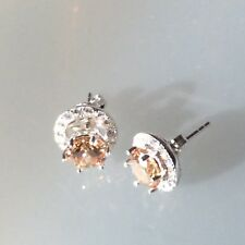Real 925 Silver Simulated Champagne Diamond Removable Halo Jacket Stud Earrings