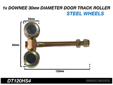 1x Downee Shed Door Track Roller 4 Wheel Steel Carriage 30mm Diameter Wheels