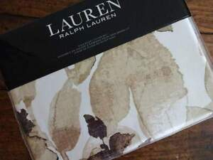 RALPH LAUREN Flax Chocolate BOTANICAL LEAF Cotton SATEEN KING DUVET Sham SET 3PC