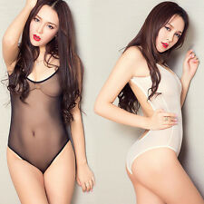 Sexy Women's Lingerie One-Piece Swimwear High Cut Sheer Leotard Thong Bodysuit