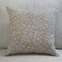 "Dainty Songbird Double Sided Cushion. 17x17"" Square. Ochre Mustard Yellow & Grey"