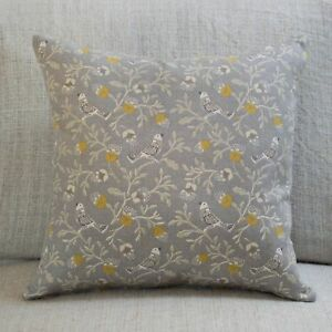 "Dainty Songbird Double Sided Cushion. 17x17"" Square. Ochre Mustard Yellow & Grey"
