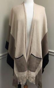 Women's Blanket Wrap Neutral Colorblock Stripe Pockets Faux Leather Trim Fringe