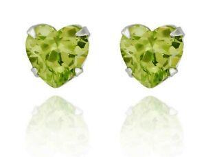 Sterling Silver Heart Shape Peridot 1.24ct Stud Earrings (925)
