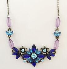 New Lavender Blue Floral Flower European Adjustable Necklace Wedding Gift NE1129