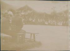 France, Spectacle donné par les troupes ca.1897 vintage citrate print Vintage ci