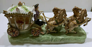 Vintage CAPODIMONTE (signed) CINDERELLA CARRIAGE w/ 4 Horses Flowers
