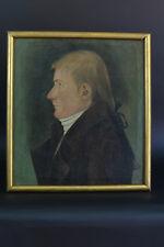 Tableau Ancien Portrait Homme Profil Catogan Normandie 18e st Carmontelle Hst