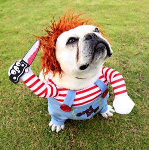 Tödliche Puppe Hund Transformation Halloween Haustier Kostüm Perücke !