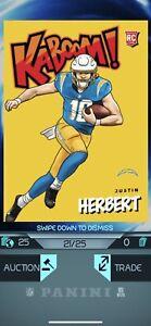 Justin Herbert 2020 Absolute FOTL Kaboom /25 RC (Panini Blitz Digital Card)