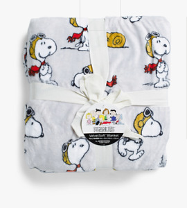 """Peanuts Snoopy Red Baron Flying Ace Twin Size Blanket Throw 60 x 90"""" Winter"""