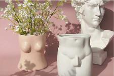3D Female Male Nude Butt Boobs Torso Shaped Ceramic Planter Pot Makeup Holder
