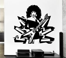 Wall Sticker Music Rock Pop Guitar Sexy Girl Woman Lady Living Room (z2594)