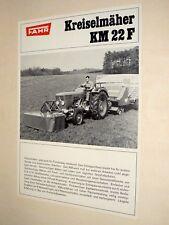 Prospectus FAHR KREISELMAHER KM22F DEUTZ  Brochure Tracteur Traktor Prospekt