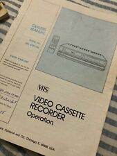 VHS Video Cassette Recorder Operation/Owners Manual Model 580 53297750