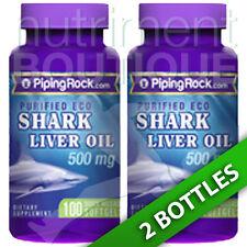 Shark Liver Oil 500 mg/Squalene/Alkoxyglycerols 2X100 Softgels Piping Rock Eco